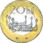20元(蘭嶼島の原住民「雅美族」の伝統船タタラ)