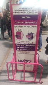 Wizz Air 荷物のサイズ