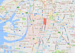 あいりん地区と釜ヶ崎の位置