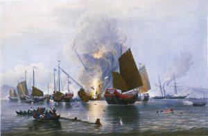 イギリス海軍軍艦に吹き飛ばされる清軍のジャンク船
