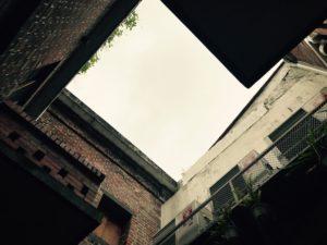 中庭から上を見上げる。