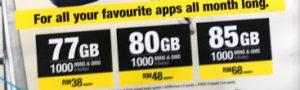 77GB、80GB、85GBの三つのプランがあった