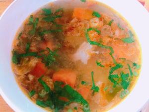 セットのスープ。具沢山で嬉しい。