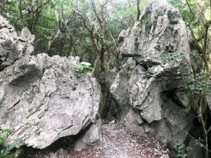 こんな細い岩と岩の間を通る