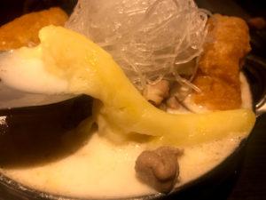 チーズミルク鍋のチーズがとろけてる