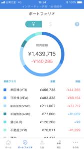 ウェルスナビ損失の内容→12月27日時点でマイナス14万円