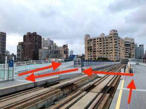 LRT真愛碼頭站で下車したら赤い矢印の通りに歩く