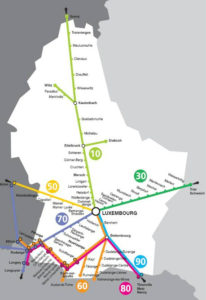 ルクセンブルク国鉄(CFL)の路線図