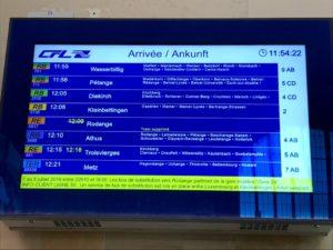 駅構内の時刻表