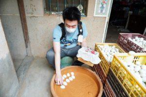 鴨の鹹蛋(しょっぱい卵)の手作り体験