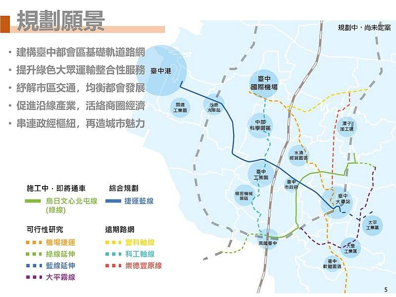 台中MRT(捷運)今後追加される路線