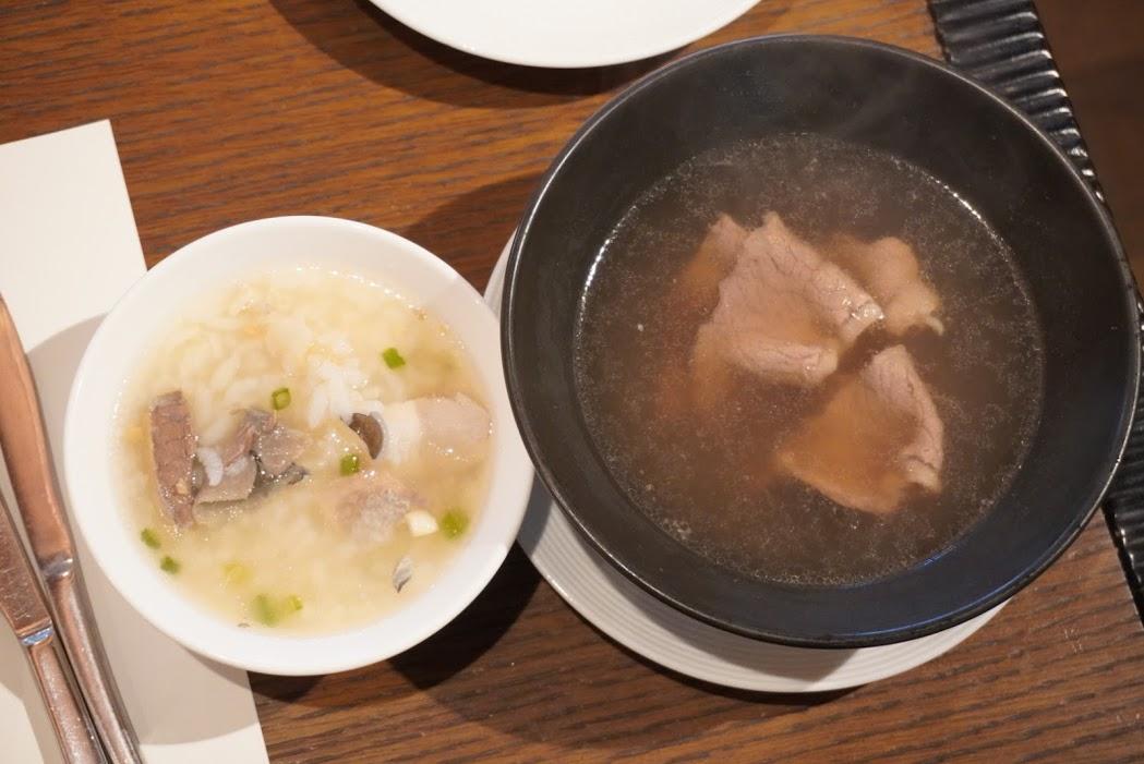 お粥と牛肉湯